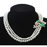 Euramerican Graceful Luxury Multilayer Maple Leaf Pearl Female Party Necklace Movie Jewelry