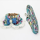 Collar Leash Foldable Adjustable Flower/Floral Lace Fabric