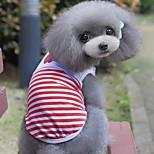 Кошка Собака Футболка Жилет Одежда для собак На каждый день Полоски Красный Синий