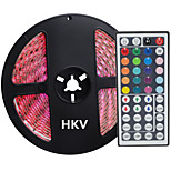 HKV® 5M 72W 300 LED 5050 SMD Waterproof RGB Controlers Light Normal Brightness Flexible LED Light Bar Strip 44 Key Remote Control DC 12V 1PCS