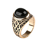 Classic Vintage Ring Zinc Alloy Resin Carve  Shape Rings Simulated Gemstone Black