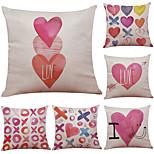 Set of 6 Cute Love Illustrator Pattern Linen Pillowcase Sofa Home Decor Cushion Cover  Throw Pillow Case (18*18inch)