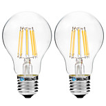 2pcs BRELONG Dimming A60 E27 8W 8LED 600LM Antique Filament Lamp Warm White / White AC22OV Transparent Bulb Light