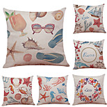 Set of 6 Mediterranean Style Pattern Linen Pillowcase Sofa Home Decor Cushion Cover  Throw Pillow Case (18*18inch)