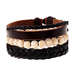 Retro Minimalist Leather Braided Beaded Bracelet