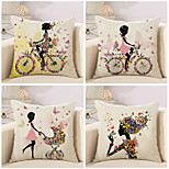 Set Of 4 Colorful Flower Bicycle Fairy Printing Pillow Cover Sofa Cushion Cover Fashion Pillow Case 45*45Cm