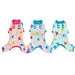 Собака Пижамы Одежда для собак На каждый день Звезды Зеленый Розовый Светло-синий