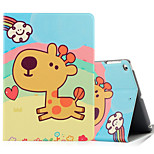 Pour apple ipad (2017) ipad air 2 ipad housse d'air antichoc avec support flip pattern carton complet animal cartoon hard pu leather
