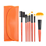7pcs Orange Makeup Brush Set Blush Brush Eyeshadow Brush Eyeliner Brush Eyelash Brush dyeing Brush Powder Brush Sponge Applicator Synthetic Hair