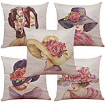 Set of 5 Creative Fashion Hat Pattern  Linen Pillowcase Sofa Home Decor Cushion Cover (18*18inch)