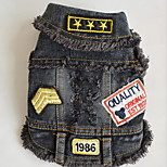 Dog Vest Dog Clothes Cowboy Letter & Number Blue Black
