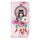 For Apple iPhone 7 7 Plus 6S 6 Plus SE 5S 5 Case Cover Wind Chimes Owl Pattern Shine Relief PU Material Card Stent Wallet Phone Case