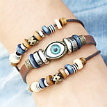 Fashion PunkTurkish Evil Eye Bracelets Wristband Beads Leather Bracelet Bangles Ethnic Vintage Jewelry For Women Men Bijouterie