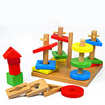 Pegged Puzzles For Gift  Building Blocks Model & Building Toy Square Wood 2 to 4 Years 5 to 7 Years Toys