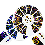 2pcs/set Fashion Montana&Purple Gold Mixed Size Shining Resin Jelly Rhinestone Decoration Nail Art Round Disc Glitter Rhinestone DIY Beauty