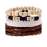 Simple Retro Beads Braided Leather Bracelets