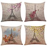 Set of 4 Paris Eiffel Tower  Linen Pillowcase Sofa Home Decor Cushion Cover(18*18)