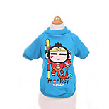 Dog Shirt / T-Shirt Dog Clothes Cute Casual/Daily Cartoon Blue Red