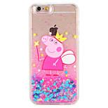 Case for apple iphone 7 7 плюс мультфильм свиньи блеск сияние картина текучая жидкость жесткий ПК 6 с плюс 6 плюс 6 с 6