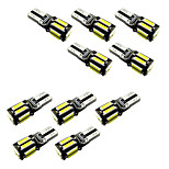 10pcs BA9S T4W/ T10 W5W 10SMD 7020 Reading light show side Light W5W White / Blue DC12V