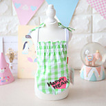 Dog Dress Dog Clothes Cute Casual/Daily Plaid/Check Green Red