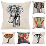 Set Of 6 Southeast Asia 3D Elephant Printing Pillow Cover Vintage Creative Pillow Case