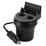 Cup Car Charger Dual Cigarette Lighter Sockets Power Adapter with Dual USB Ports for iPhone Samsung Smart Phone Charging (Cable Length 0.7m 2.3Ft)