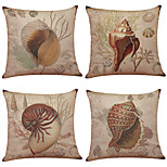 Set of 4 Retro Starfish Pattern  Linen Pillowcase Sofa Home Decor Cushion Cover(18*18)