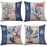 Set of 4 Marine Organisms Pattern  Linen Pillowcase Sofa Home Decor Cushion Cover