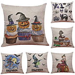 Set of 6 Halloween Witch pattern Pattern Linen Pillowcase Sofa Home Decor Cushion Cover  Throw Pillow Case (18*18inch)