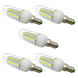 5PCS 5W E14 LED Corn Lights  80 SMD 5730 1000 lm Warm White /White AC 220-240V No strobe