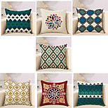 Set Of 7 Vintage European Style Geometry Pattern Pillow Cover Square Pillow Case 45*45Cm Sofa Cushion Cover