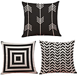 Set of 3  Creative Geometry Pattern  Linen Pillowcase Sofa Home Decor Cushion Cover