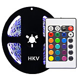 HKV® 5M 72W 300 LED 5050 SMD No-Waterproof RGB Controlers Light Normal Brightness Flexible LED Light Bar Strip 24Key Remote Control DC 12V 1PCS