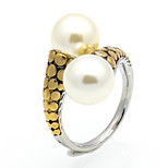 New Fashion Personality Vintag Pearl Titanium Steel 18K Gold Ring For Women