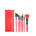 7pcs Red Makeup Brush Set Blush Brush Eyeshadow Brush Eyeliner Brush Eyelash Brush dyeing Brush Powder Brush Sponge Applicator Synthetic Hair