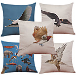 Set of 5 Flying Eagle Pattern  Linen Pillowcase Sofa Home Decor Cushion Cover (18*18inch)