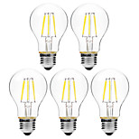 5pcs BRELONG Dimming A60 E27 6W 6LED 300LM Antique Filament Lamp Warm White / White AC22OV Transparent Bulb Light