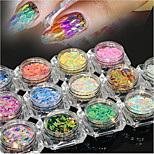 13bottles/set New Fashion Nail Art Glitter Horse Eye Leaf Paillette DIY Graceful Shining Slice Charming Rainbow Sequins Charm Decoration MB01-13