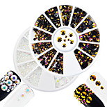 2pcs/set Fashion White&Purple Gold Mixed Size Shining Resin Jelly Rhinestone Decoration Nail Art DIY Beauty Glitter Shining Rhinestone