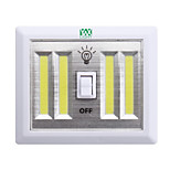 YWXLight® White Wireless LED Night Light Lamp COB LED Wall Lamp Battery Power Cordless Switch Closet Under Cabinet DC 6V 1PCS