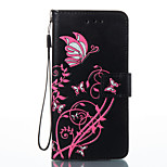 For Sony Xperia E5 Case Cover Butterfly Flowers Pattern PU Material Card Stent Wallet Phone Case
