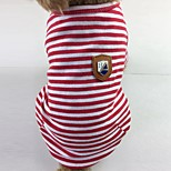 Кошка Собака Футболка Одежда для собак На каждый день Полоски Красный Зеленый Синий