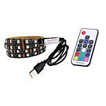 BRELONG USB 5050 RGB Strip Lights 5V TV Background Waterproof 1M 30 Leds with 17Key Controller