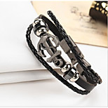 Unsex Couple's Multilayer Knitting  Anchor Leather Bracelet  For Daily 1 pc