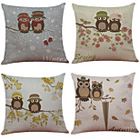 Set of 4 Cute Owl Pattern  Linen Pillowcase Sofa Home Decor Cushion Cover(18*18)