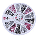 1 Box Pink Clear Grey Nail Rhinestones Mixed Size Nail Studs Manicure 3D Nail Art Decorations in Wheel