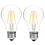 2pcs BRELONG Dimming A60 E27 4W 4LED 300LM Antique Filament Lamp Warm White / White AC22OV Transparent Bulb Light