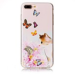 Pour iphone 7 plus 7 gravé en papillote de chat papillon haute qualité tpu téléphone doux 6 plus 6s 6 se 5