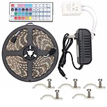 Led Strip Lights Kit Waterproof 5050 5M 300leds RGB 60leds/m with 44key Ir Controller and 3A Power Supply 5PCS Mounting Bracket